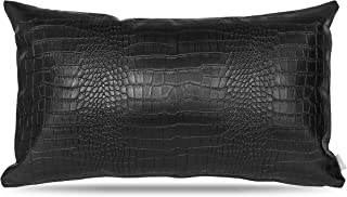 Faux Leather Lumbar Pillow Cover: Decorative for Couch Throw Pillow Case in Black Crocodile Skin for Cushions and Sofa Living Room Accent Pillow, fits 12 x 20 Lumbar Pillows