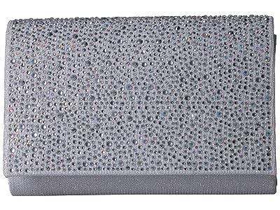 Jessica McClintock Alexis Flap Clutch (Silver) Handbags