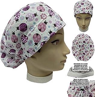 Cappello sala operatoria COCCINELLE ROSA per Capelli Lunghi Asciugamano assorbente sulla fronte facilmente regolabile medi...