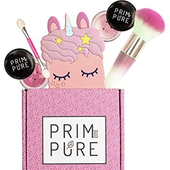 Prim and Pure Mineral Gift Set with Unicorn Mirror| Perfect for Play Dates & Birthday Parties | Kids Eyeshadow Makeup – Mineral Blush | Organic & Natural Makeup Kit for Kids| Made in USA (Pink)