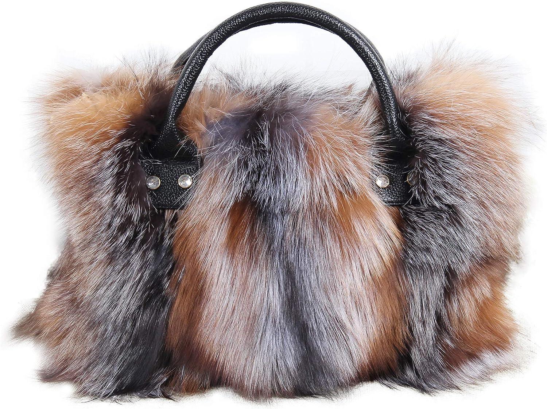 Fashion Woman Long Plush Silver Fox Fur Party Handbag Luxury Leather Tote Bag