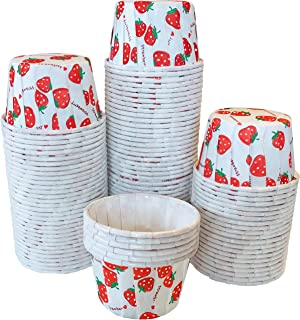 Strawberry Print MINI Candy Nut Paper Cups - MINI Baking Liners - Red White - Bulk 100 Pack
