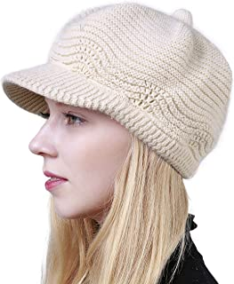 Muryobao Women's Winter Warm Slouchy Cable Knit Beanie Skull Hat with Visor