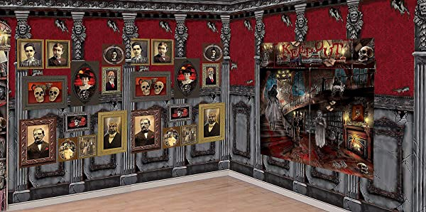 Party City Haunted Library Scene Setter Supplies Include Room Roll Gothic Portraits Scene And Haunted House Scene