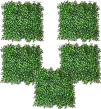 Fourwalls Artificial PVC Eucalyptus Boxwood Wall Mat(Set of 5, Green, 25 cm x 25 cm x 2.5 cm)