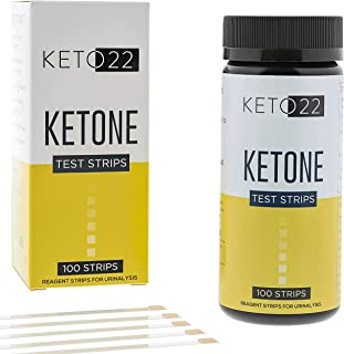 Keto 22 Ketosis Test Strips - 100 Ketone Strips - Accurate Ketone Test Strips - Monitor and Maintain a Low Carb Ketogenic Diet with Keto Test Strips. Lose Weight Feel Great - Keto Strips