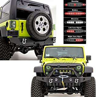 Restyling Factory -Front Bumper w/ OE Fog Light Hole & 2x D-Ring+Skid Plate + Rear Bumper w/ Twin 3rd Brake LED Smoke Light Bar and 2