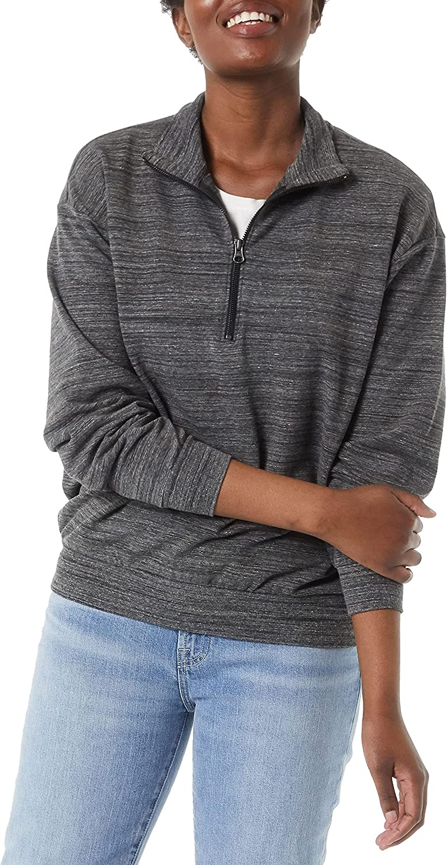 Daily Ritual Women's Terry Cotton & Modal Quarter-Zip Sweatshirt and Crop Jogger Oversized-fit Set