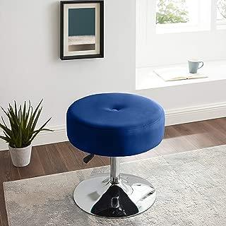 Art Leon Vanity Stool Large, Modern Round Velvet Upholstered Makeup Vanity Stool, Tuft Foot Rest Ottoman Stool with Adjustable Swivel Metal Base for Bathroom/Living Room/Bedroom/Office/Dorm (Blue)