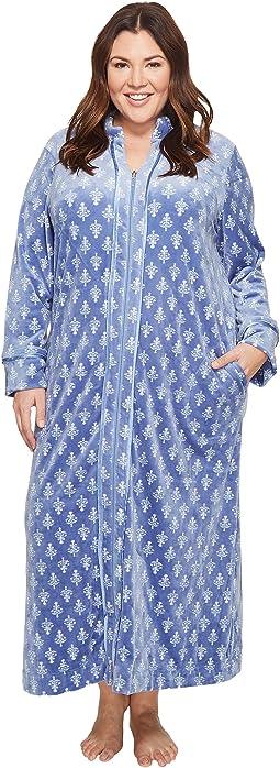 Carole Hochman - Plus Size Velvet Long Zip Robe