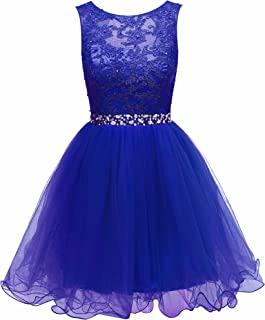 Women's Lace Beaded Homecoming Dresses Short Sequined Appliques Prom Gowns H122