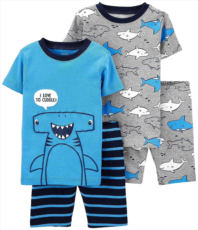 Carter's 4-Piece Baby-boy Sung fit Cotton Pajamas (Shark, 4t)