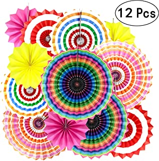 Mexican Fiesta Party Hanging Decorations - Wedding Bachelorette First Birthday Baby Shower New Years Carnival Party Photo Booth Backdrops Props Decorations, 12pc