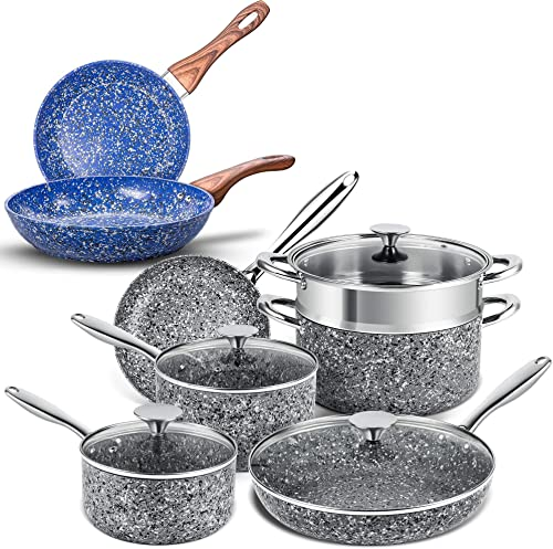 """discount MICHELANGELO Gray Stone Cookware Set 10 Piece+Blue Stone Frying Pan Set 9.5"""" & 11"""", Ultra Nonstick Pots outlet online sale and Pans Set with Stone-Derived Coating, Stone Cookware Set Nonstick, Stone Pots and Pans wholesale Set online sale"""