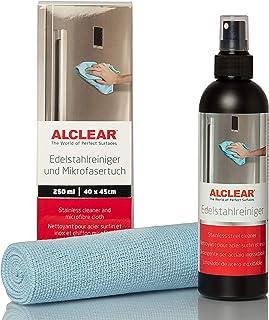 ALCLEAR 721ER professionele roestvrijstalen reiniger 250 ml en professionele microvezeldoek, reinigt roestvrij staal stree...