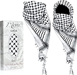 Mora Premium Shemagh Scarf: Large 100% Cotton Arab Tactical Military Desert Head Neck Keffiyeh Wrap with Tassels