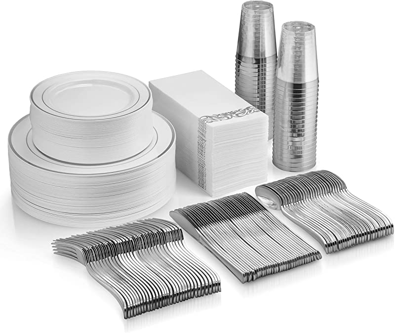 350 Piece Silver Dinnerware Set 100 Silver Rim Plastic Plates 50 Silver Plastic Silverware 50 Silver Plastic Cups 50 Linen Like Silver Paper Napkins 50 Guest Disposable Silver Dinnerware Set
