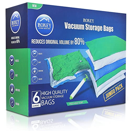 Vacuum Storage Bags Jumbo Large Size (6 Pack 110 x 80 cm) High Quality Reusable Box. 80% More Storage Space. Double Zip Seal, No Leak Valve and Extra Durable Plastic, Travel Hand Pump Included.