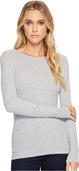 Three Dots - Viscose Rib Long Sleeve Crew Neck