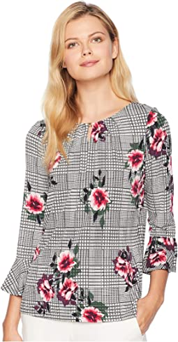 Long Flared Sleeve Printed Knit Top