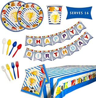 Sports Birthday Party Supplies – Sports Theme Party Supplies Set – Happy Birthday Plates and Napkins, Happy Birthday Banner, Cups, Utensils, and Table Cover – 114 Piece Set Serves 16 Guests