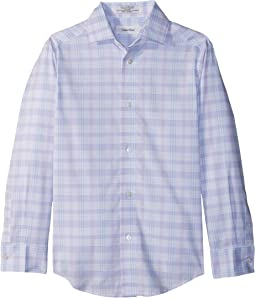 Calvin Klein Kids Roadmap Plaid Long Sleeve Shirt (Big Kids)