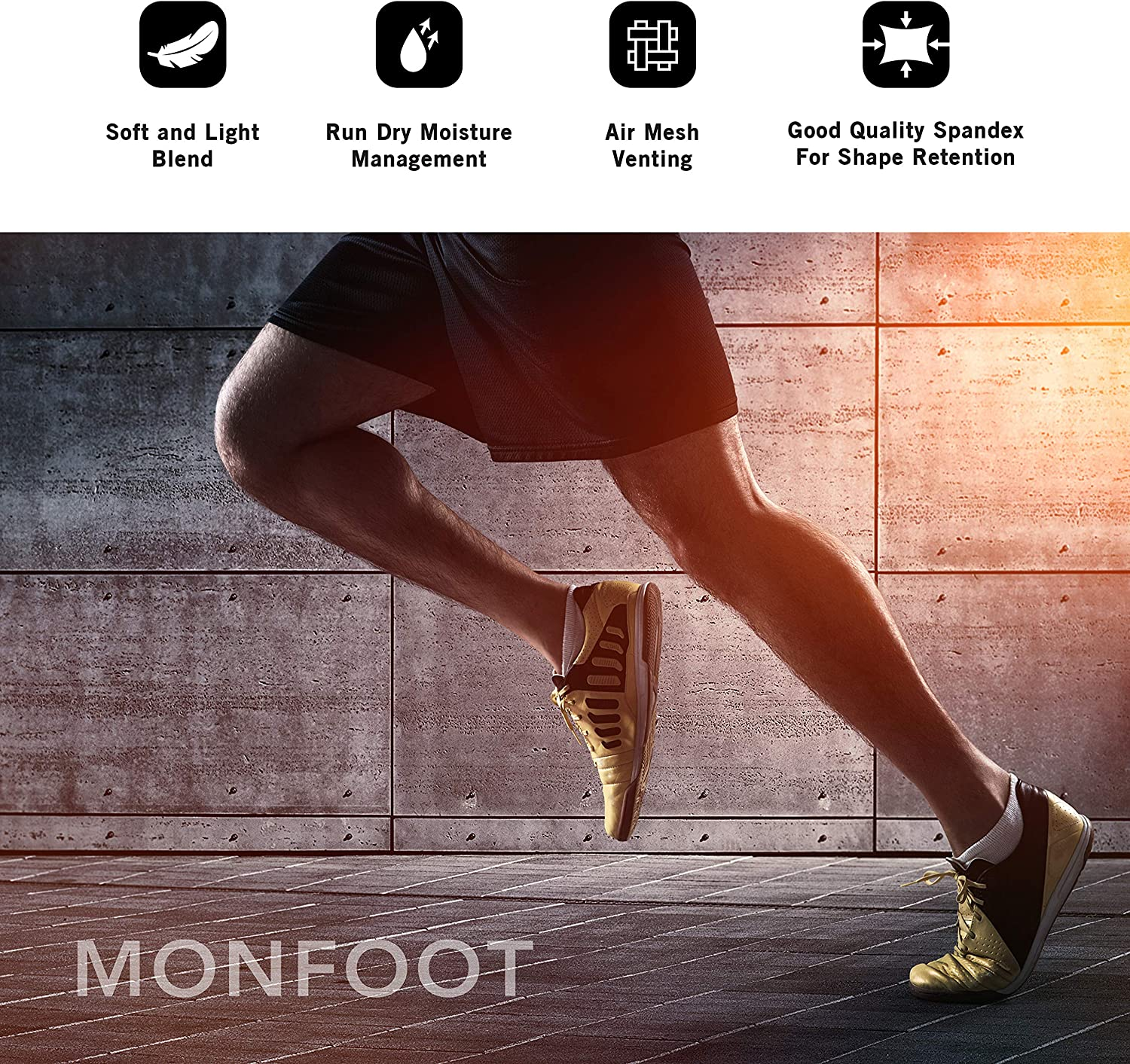 M MONFOOT 10 Pairs Athletic Cushioned Running Performance Heel Tab Ankle Socks For Men//Women