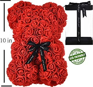 Rose Bear Hand Made Teddy Bear Rose Bear Rose Teddy Bear - Gift for Mothers Day, Valentines Day, Anniversary & Bridal Showers Weddings Clear Gift Box 10 inch (red)