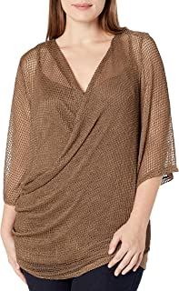 City Chic Women's Apparel Women's Plus Size Cami Style top with Fishnet wrap Detail Overlay