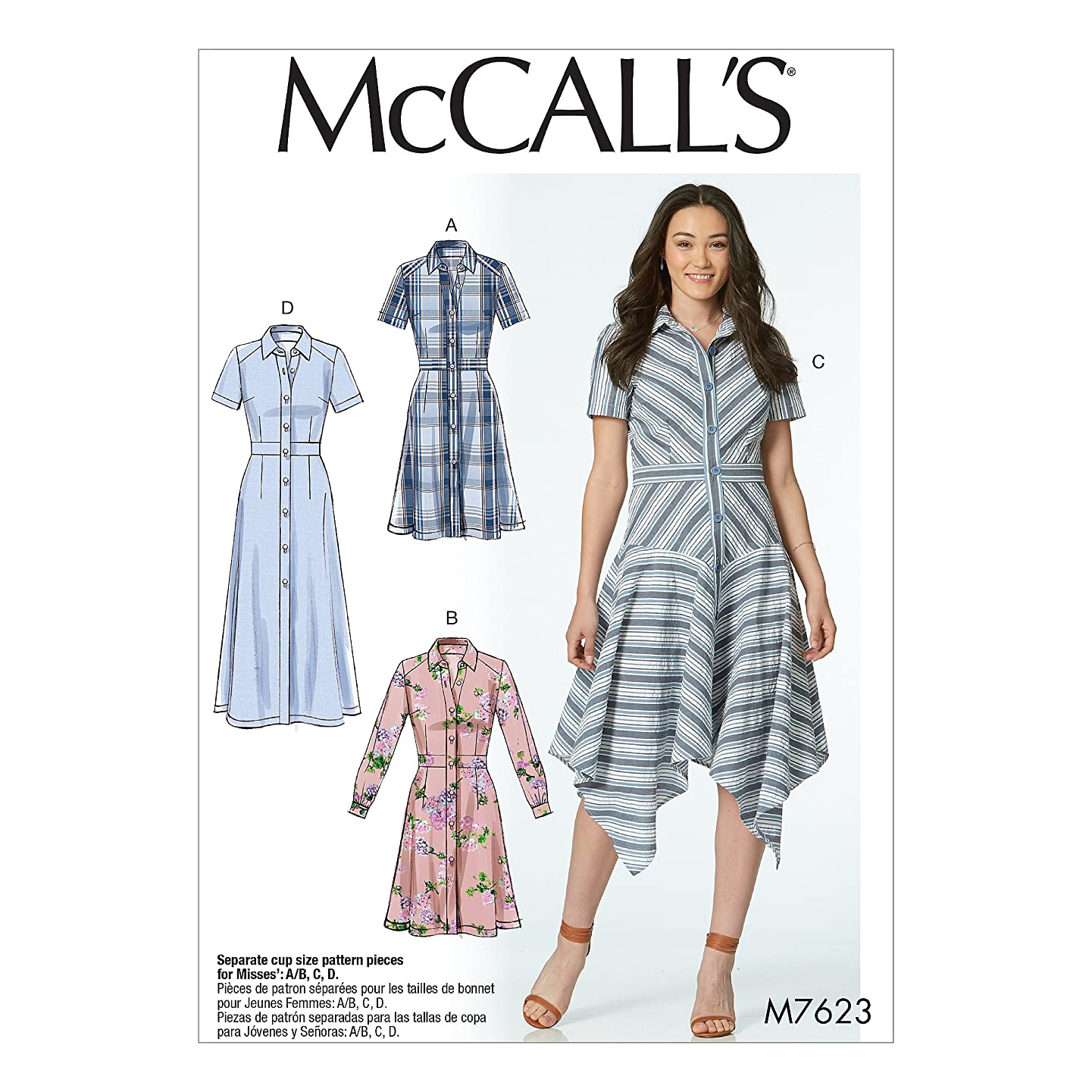 McCall's Patterns M7623E50 Misses' Shirt Set-in Waistband, and Hem Variations Dresses