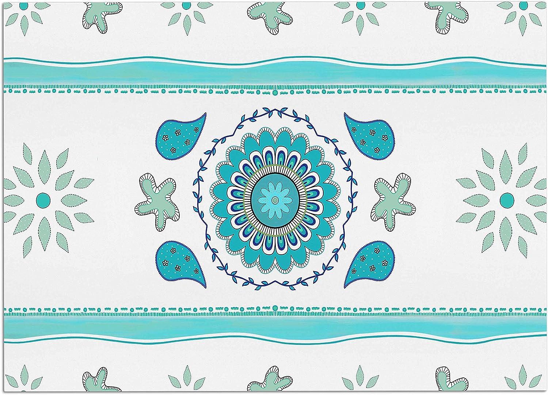 KESS InHouse Cristina Bianco Design pink & Green Mandala Design Pink Green Painting Dog Place Mat, 24 x15