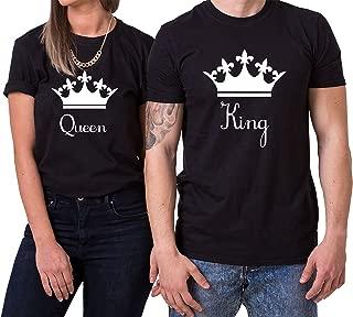 Down King Queen Partnerlook Camiseta de los Pares Dulce para Parejas como Regalos