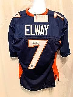 John Elway Denver Broncos Signed Autograph Custom Blue Jersey Elway Player Holo JSA Witnessed Certified