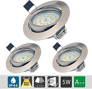 5W LED Empotrable Foco de Techo LED IP44 3000K Blancos Cálidos, Regulable,Iluminación para baño, Cocina, Recibidor, Oficina, Luz de techo rasante, Lámpara de techo para baño (3 piezas)