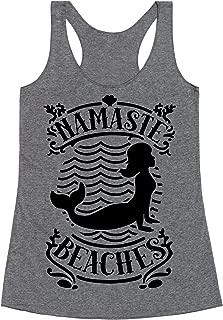 Namaste Beaches Heathered Gray Women's Racerback Tank