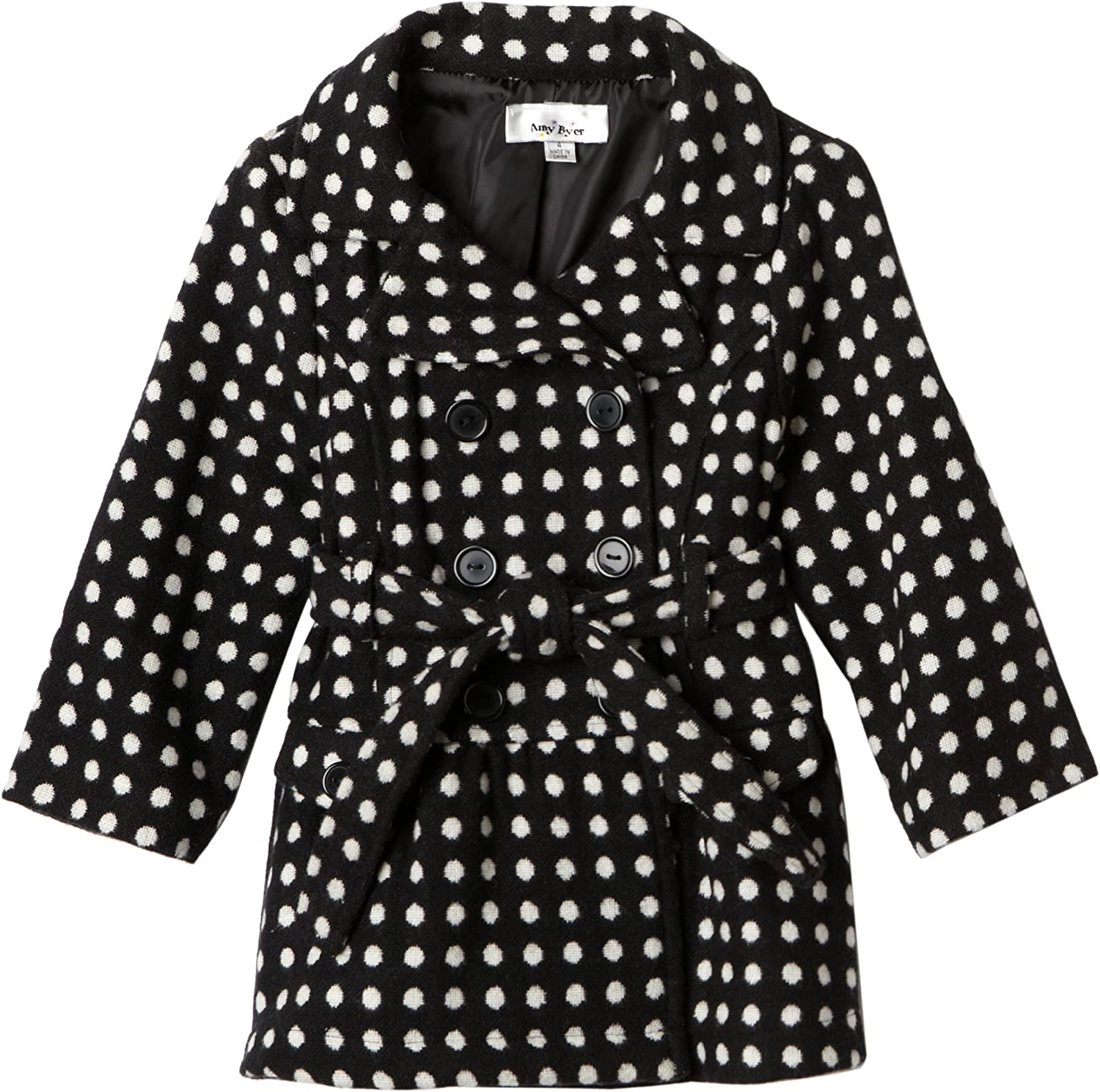 Amy Byer Little Girls' Dot To Dot Double Breasted Fabulous Fashion Cozy Trench Coat