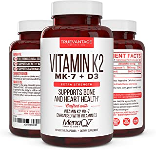 Vitamin K2 180 Mcg with D3 5000 IU – Vitamin D3 K2 MK7 Supplement for Healthy Bones, Healthy Heart & Cardiovascular Health- MenaQ7 Vitamin K Complex- 60 Capsules