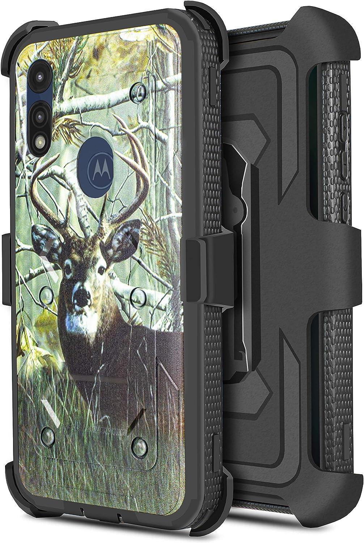 Customerfirst Motorola Moto E Case (2020 Release) [Built-in Screen Protector] Holster Belt Swivel Clip Kickstand Heavy Duty Full Body Armor Shockproof Protective Case for Motorola E7 (Deer)