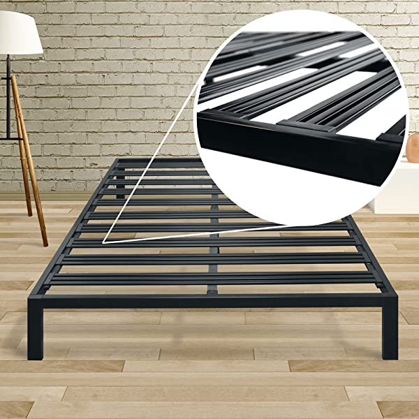 Mellow Rocky Base C Cal King Modern Metal Platform Bed Heavy Duty Steel Slats No Box Spring Needed Quick And Easy Assembly Black