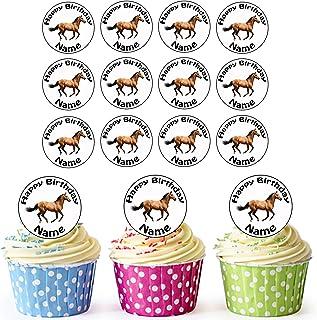 Granja Caballo 24personalizado comestible cupcake toppers/adornos de tarta de cumpleaños–fácil troquelada círculos