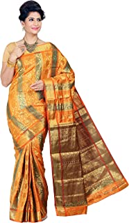 Mimosa Women Kanchipuram Art Multi-Embose Silk Saree With Tissue Blouse (Multi-Coloured,3179-07-GRGD-ORNG)