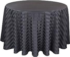Riegel PSS-70RD-BLK Satin Stripe Round Tablecloth, 70-Inch, Black