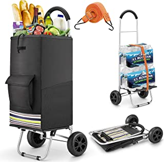 Shopping Cart, Super Loading Grocery Cart 220 lbs Capacity Grocery Shopping Foldable Cartwith Extra Large Black Shopping ...