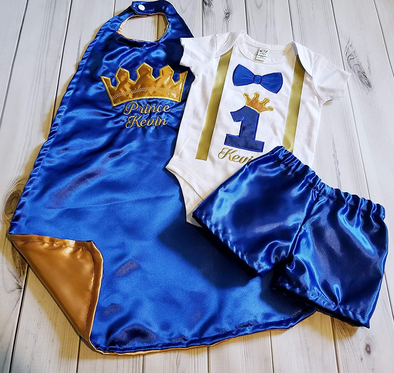 3 piece 1st 2nd Birthday baby boy birthday set outfit Smash cake photo prop KING or PRINCE Royal Blue gold crown onesie cape blue diaper cover or shorts 6 months to 24 months