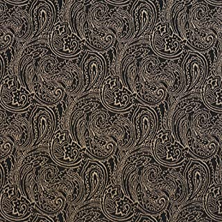 B633 Black Traditional Paisley Jacquard Woven Upholstery Fabric by The Yard