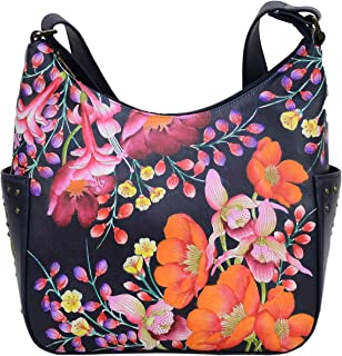 Women's Genuine Leather Shoulder Bag | Hand Painted Original Artwork | Classic Hobo With Studded Side Pockets