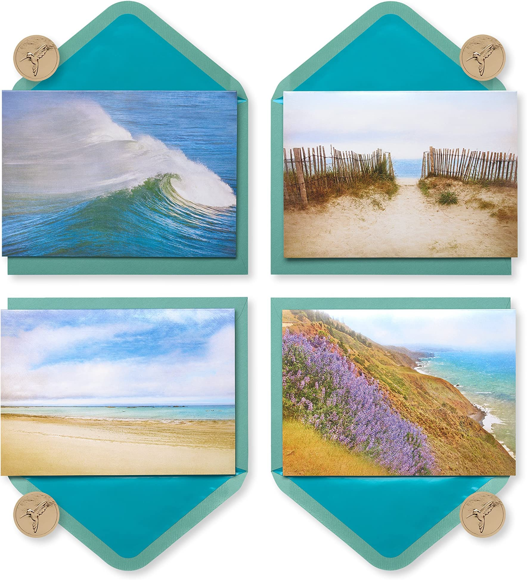 matted on heavy weight card stock. SEA SHELL by the SEASHORE...Set of five handmade aqua and white all occasion notecards
