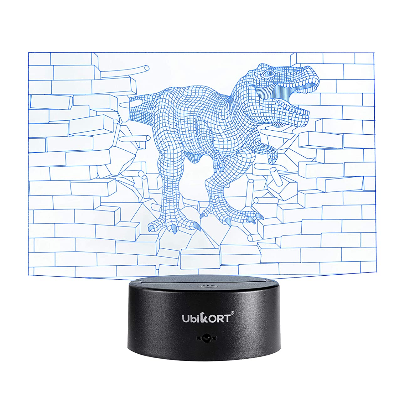 UbiKORT Dinosaur Night Light for Kids, 3D Dinosaur lamp for Bedroom Decor and Great Birthday Gift, T-Rex Dinosaur Wall, 3D LED Illusion Lamp with 7 Colors Mode Smart Switch, Remote Control, USB Charge