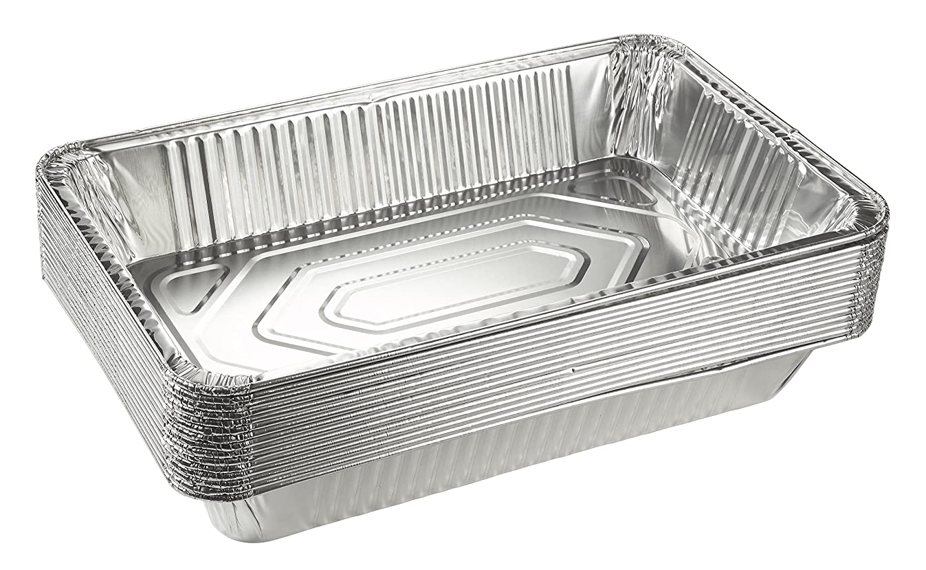Aluminum Foil Pans - 15-Piece Full-Size Deep Disposable Steam Table Pans for Baking, Roasting, Broiling, Cooking, 20.5 x 3.3 x 13 Inches