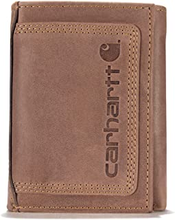 Men's Top Grain Leather Trifold, Contrasting Stitch